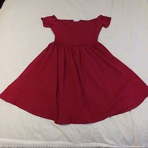 ASOS curve fit and flare dress burgundy size 14